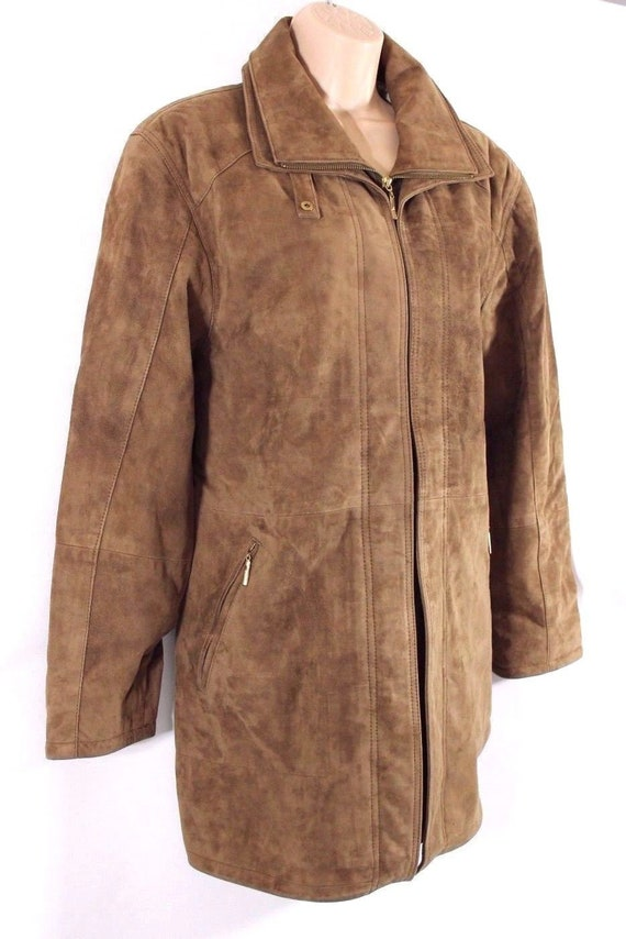 Coat Zip Vintage Women's Size Hip Length UK16 CABRINI Slouch Parka Leather Jacket Brown Real 100 gqwxXqH7a