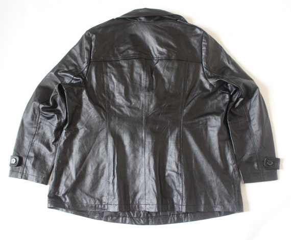 UK26 Black Jacket Plus Women's Leather 100 Size Vintage Fitted Real Hip Size Length LINEA MIA q7qwvYp