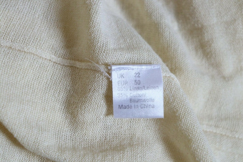 Women/'s Vintage POETRY Thin Knitted Pale Yellow Linen Mix Jumper Sweater Pullover Size UK18  LAGENLOOK