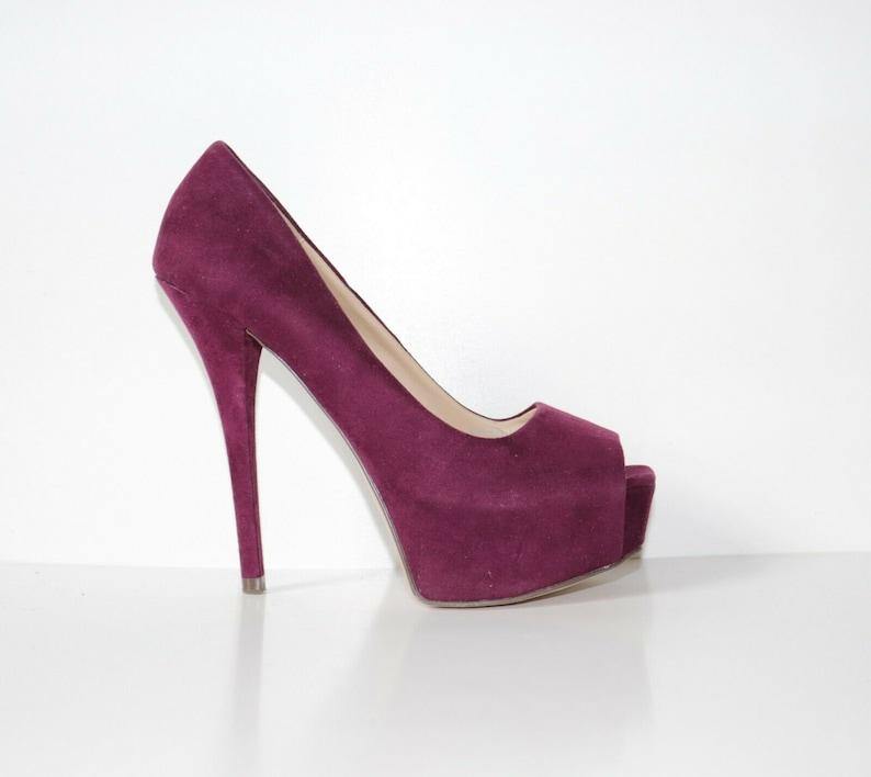 e6c2bc4dbf0 Women's ZARA BASIC High Heel Peep Toe Platform Purple 100% Real Leather  Shoes Size UK4 EUR37