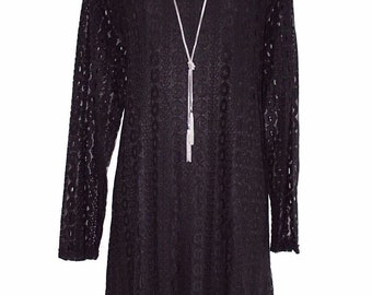 Women's Vintage ONUOLAYICHU Short Mini A-line Black Lace Dress Tunic Size UK18 UK20