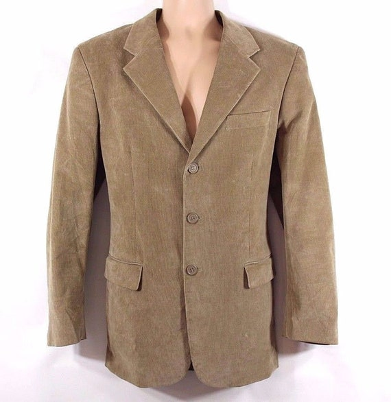 Men's Vintage Tailored Fitted Stretch Beige Needle