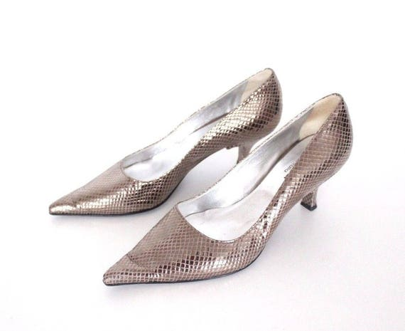 UK5 Size Shoes 5 EU38 Formal 5 Real 100 TARSALA Bronze Leather Women's Snakeskin Effect Vintage qcWRZ4xwBP