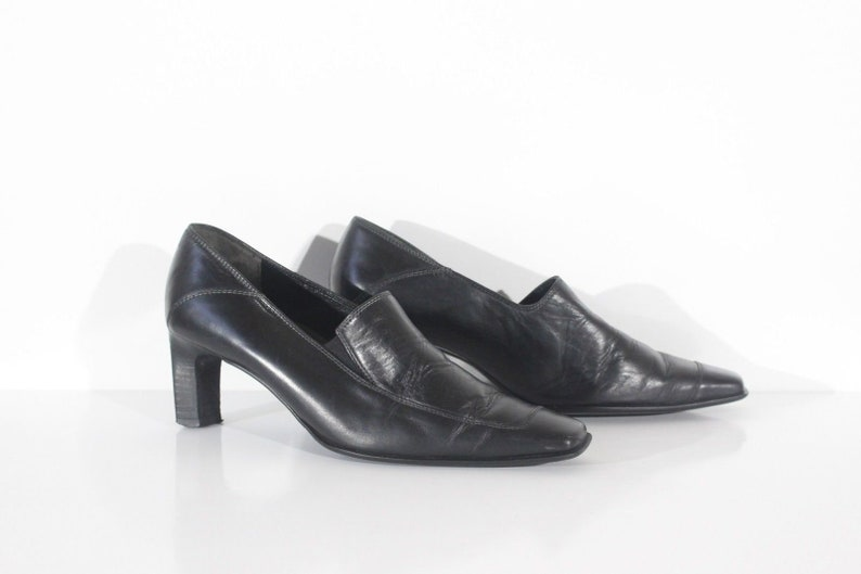2a48daa71fae1 Women's Vintage PAUL GREEN Miunhen HANDMADE Black 100% Leather Heeled Court  Shoes Size UK4.5 EURO37.5