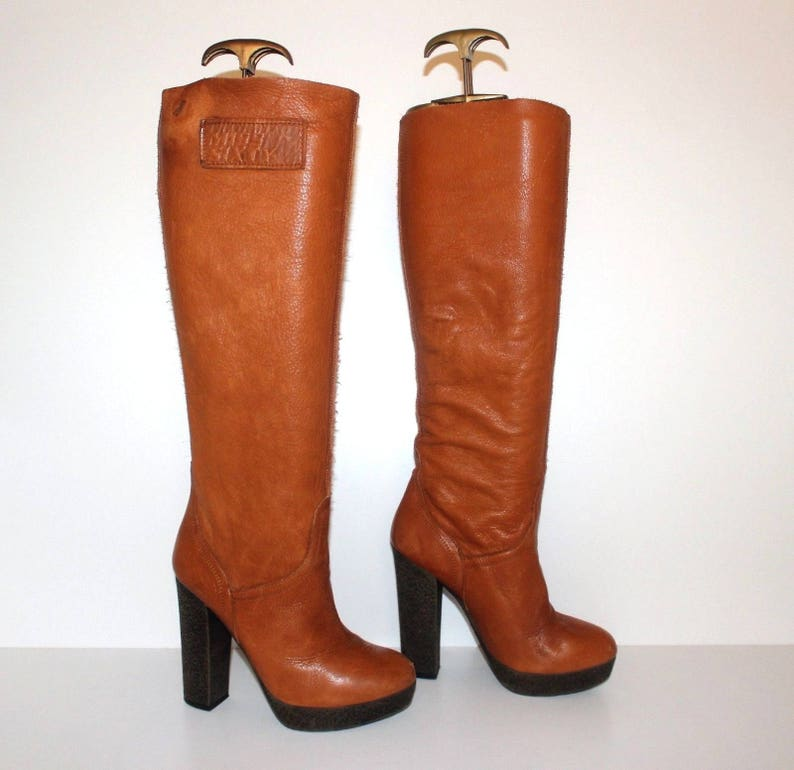Women/'s Vintage MISS SXTY Tan Real Leather Pull On Platform Boots Size UK2 EU35
