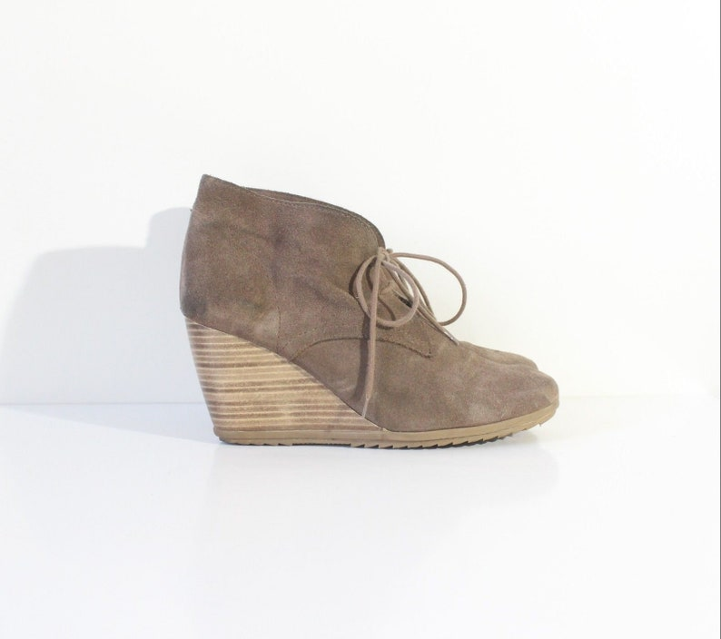 d171322557692 Women's Vintage ESPRIT Brown 100% Leather Suede Lace Up Wedge Boots Size  UK6 EUR39