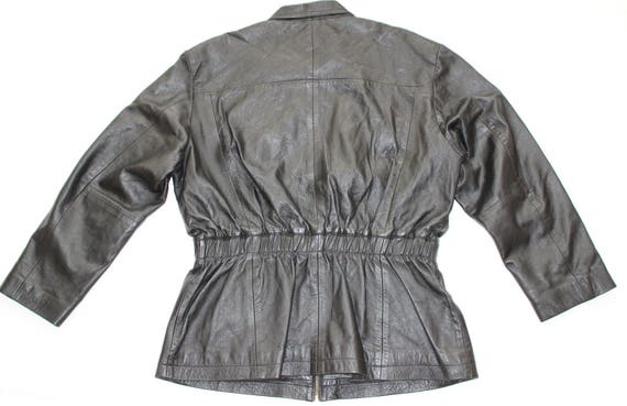 Jacket Vintage 100 Coat Women's Size UK14 Black UK16 Length Real Leather Hip rrO8w5q
