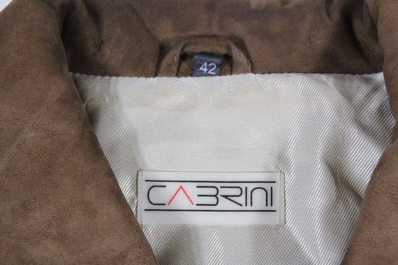Real Vintage 100 CABRINI UK16 Leather Length Size Hip Coat Jacket Parka Brown Women's Zip Slouch EqqwCZSr