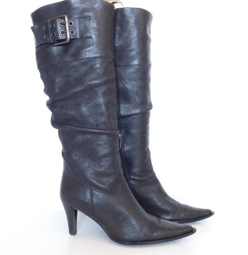 Damen Vintage KX & CO Knie hoch ziehen auf Zip lümmeln Spitzen schwarzen echt Leder Stiefel Größe UK6 EU39
