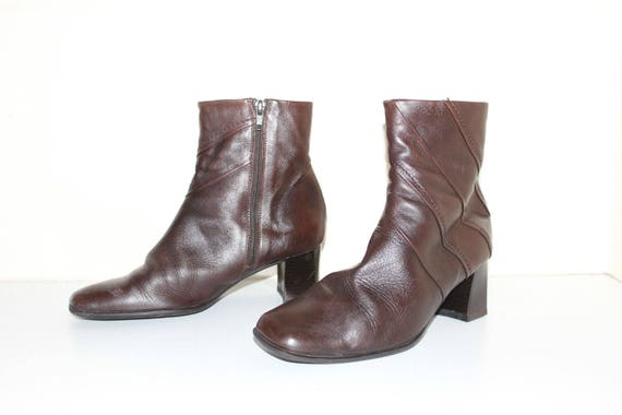 Real PECA Women's Leather Boots Vintage Block Size Comfort Heel Mid UK4 Ankle 100 EU37 Brown pp8rnUR