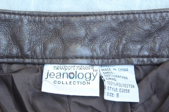 Pants Jeans Trousers Jeans Real Bootcut L32 Brown Size W28 100 Vintage Women's JEANOLOGY Leather wgxqag80