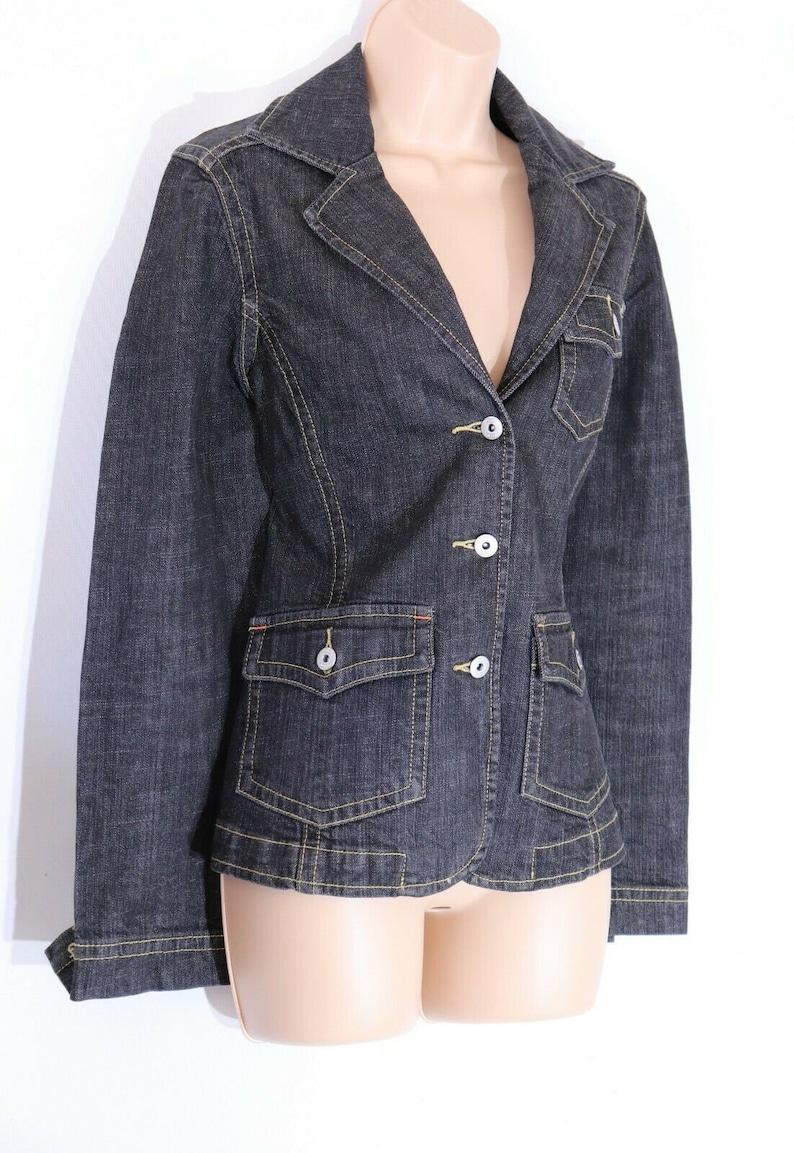 Women/'s Vintage CECIL Black Denim Jean Jacket Blazer UK12 UK14