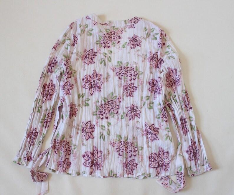 Women/'s Vintage s OLIVER Long Sleeve White Wrinkled Floral Cotton Mix Blouse Size UK16