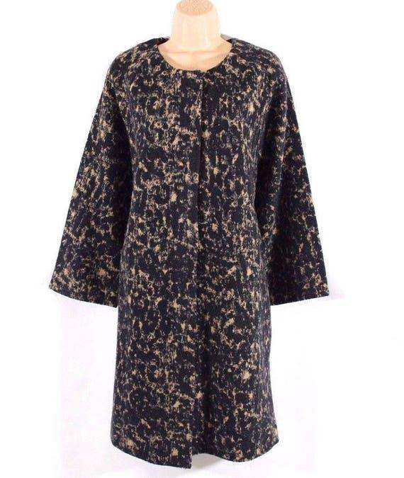 Cocoon 100 Merino Felted Print Animal YORK Wool UK16 NEW Coat Black Vintage Style JONES qwx4F1vw