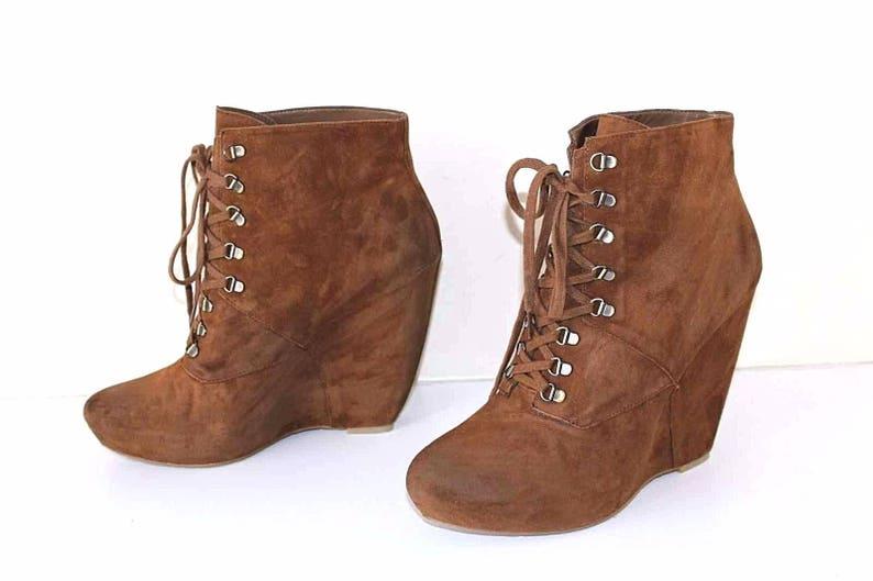 c02d21c6530b6 Women's Vintage BOUTIQUE 9 Platform Wedge Brown 100% Real Leather - Suede  Ankle Boots Size US10M UK8 EU42