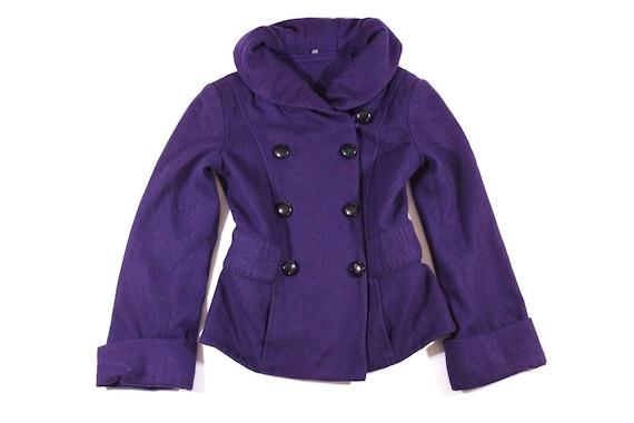 M C Mix O Fitted Tweed R Hip Size S A Ladies Jacket Pea Length Vintage Coat Purple Wool qHITET