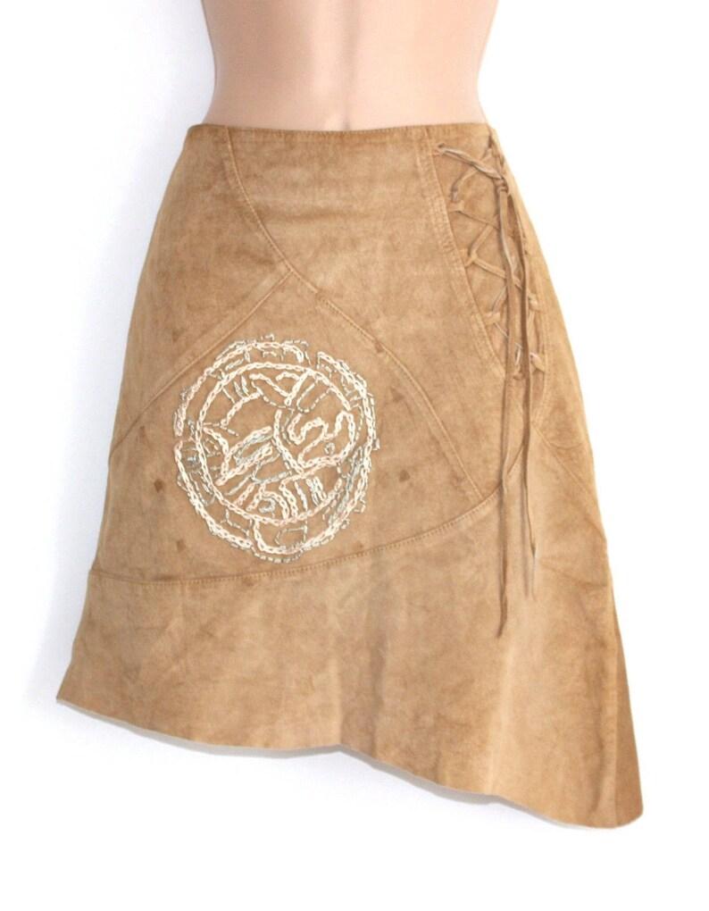 buy popular cd8cf a6f2c Women's Vintage CONBIPEL Asymmetrical Midi Beige 100% Real Leather Skirt  size W 29 in / UK10 / Lagenlook