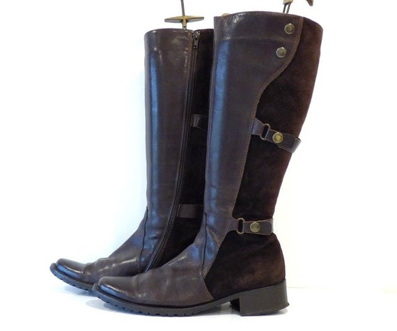 EUR38 Leather VAl Knee Size US7 Suede Riding Real SPIRIT Brown UK5 Vintage VIA Women's High Boots SfwzxH6qq