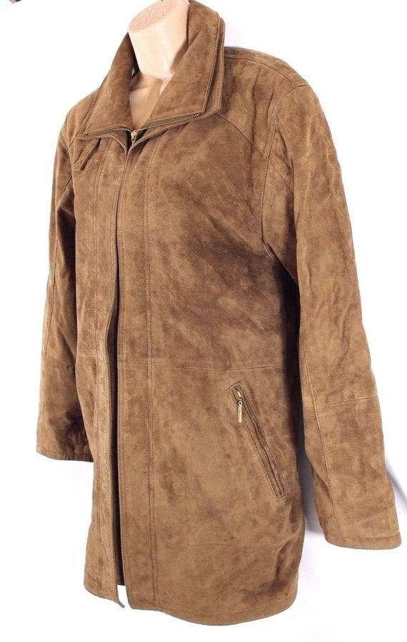Women's Real Parka Brown Slouch Size Coat UK16 Jacket Hip Zip Vintage Leather CABRINI Length 100 q1nxAAzZwH