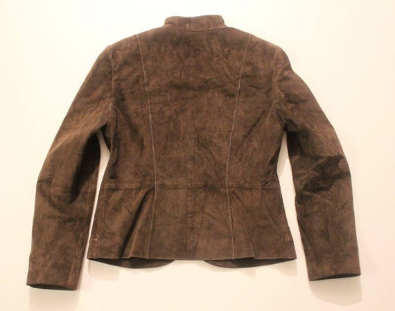 Riding Blazer Real 12 Size UK Length Brown Hip Fitted Vintage Suede Jacket WEBER Leather Ladies GERRY zga4wqS