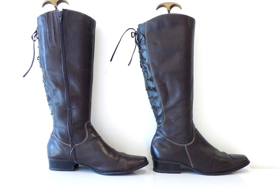Block D US7 Brown Boots UK5 EUR38 Heel JANET Women's Size Real Leather Vintage Knee High qXw6xfBx