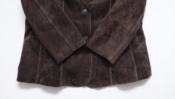UK16 Riding Brown Leather Size Blazer Fitted Women's Length UK18 Biker Hip Vintage TAIFUN Real Jacket Coat PETITE 6xFXB60