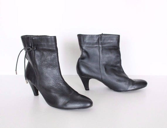 Ladies On Pull Women's Ankle Heel Size UK6 Black Slim EU39 Boots Real 100 Leather Vintage cxYwA80qHx