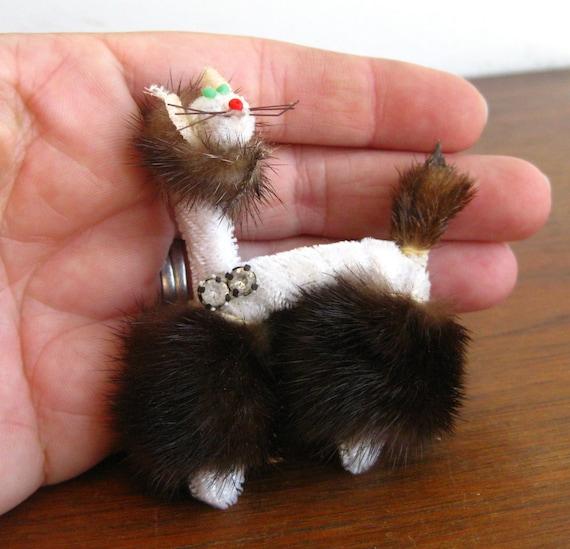 Vintage 50s Genuine Mink Fur Novelty Kitty Cat Br… - image 4