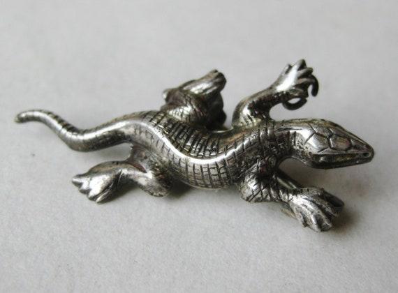 Vintage Sterling Silver Lizard Novelty Brooch Sca… - image 1