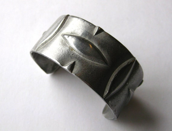 Vintage 60s 70s Pewter Abstract Wide Cuff Bracelet - image 2