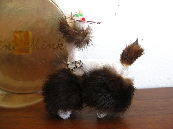 Vintage 50s Genuine Mink Fur Novelty Kitty Cat Br… - image 5