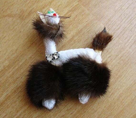 Vintage 50s Genuine Mink Fur Novelty Kitty Cat Br… - image 1