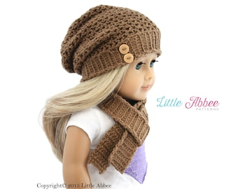 """Download Now - CROCHET PATTERN 18"""" Doll Madison Slouchy Beanie"""