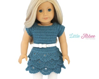 """Download Now - CROCHET PATTERN 18"""" Doll Waterfall Dress and Top"""
