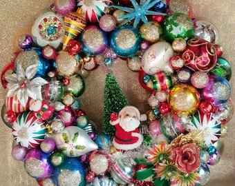 Christmas Wreath, Kitschy Christmas, Shiny Brite Ornaments, Christmas  Ornaments, Ornament Wreath, MADE TO ORDER, Many Sizes Available