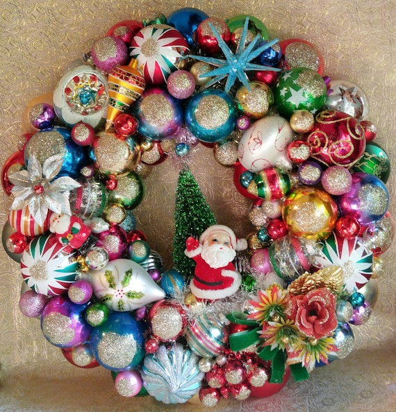 image 0 - Christmas Ornament Wreath Kitschy Christmas Shiny Brite Etsy