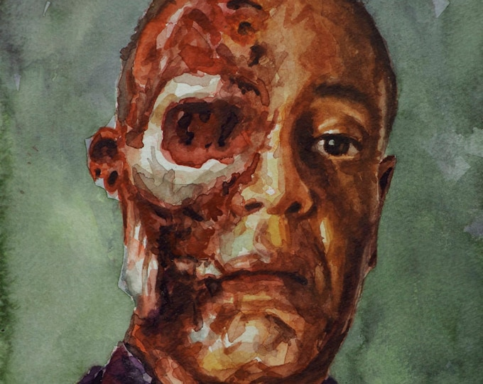 Gus Fring, PRINT from watercolor painting -- Breaking Bad Face Off