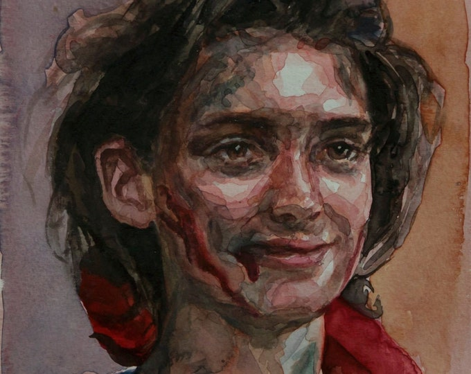 Heathers watercolor 6x8in, Winona Ryder portrait
