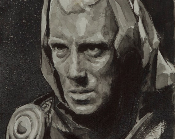 Max von Sydow watercolor, 8x6in, The Seventh Seal, Ingmar Bergman