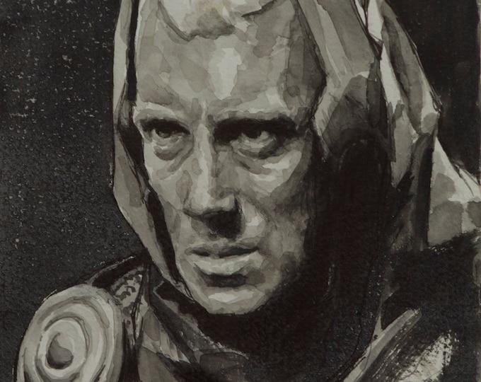 Max von Sydow watercolor, 8x6in, The Seventh Seal, Ingmar Bergman