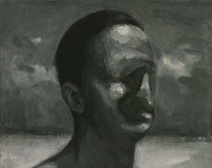 Untitled, 12x12in original oil painting on canvas, monochromatic figuration