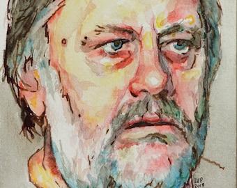 Zizek watercolor, 8x6in