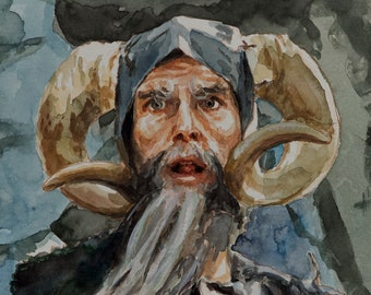Monty Python watercolor 6x8, Tim the Enchanter, John Cleese