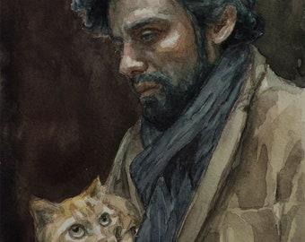 Inside Llewyn Davis watercolor 6x8in, Oscar Isaac
