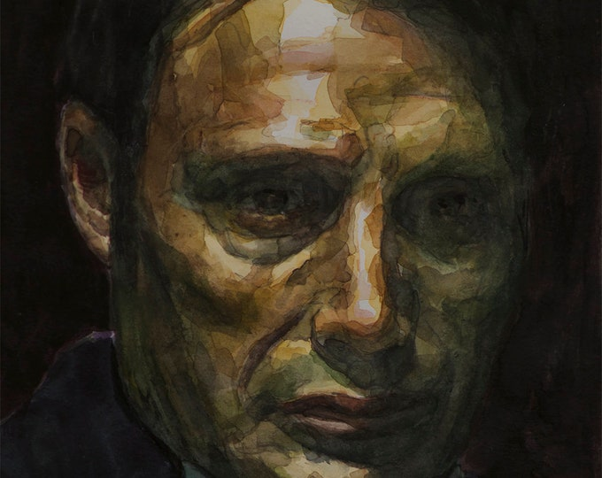 Hannibal watercolor 6x8in, Mads Mikkelsen portrait