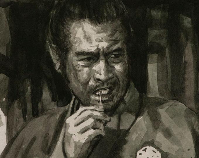 Yojimbo watercolor 6x8in
