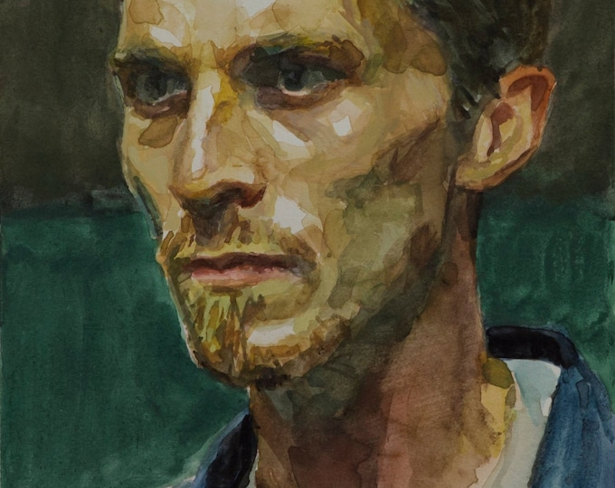 The Machinist, watercolor, 8x6in - Christian Bale