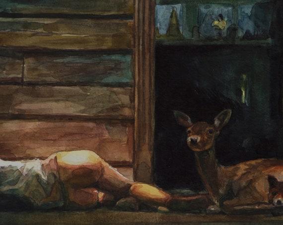 Antichrist watercolor study, 6x12in Lars Von Trier, Charlotte Gainsbourg