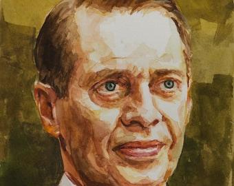 Nucky Thompson watercolor, 8x6in, Boardwalk Empire, Steve Buscemi