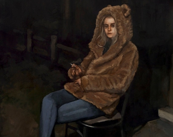 Ash in her bear coat, large oil painting original